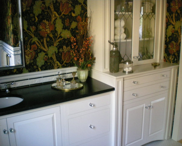 Treehouse Woodworking - Custom Design bathroom vanity with leaded glass doors