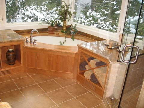 Bathroom On Treehouse Woodworking Custom Design Hot Tub Surround Built In