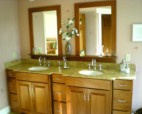 custom vanity and mirror raised panel doors african mahogany   natural