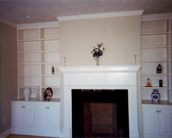 Custom Painted Mantel, Built-In, Bookcases, Storage Base