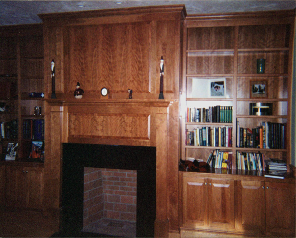 Treehouse Woodworking custom built-in fireplace cherry