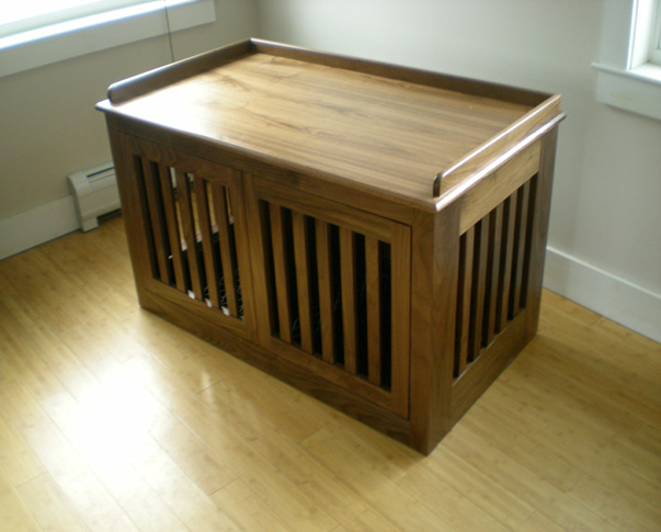 Walnut Dog Crate with Pocket Doors