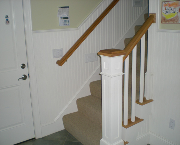 Treehouse Woodworking Stairs Built-ins Raised Panel Wainscoting Crown Moulding