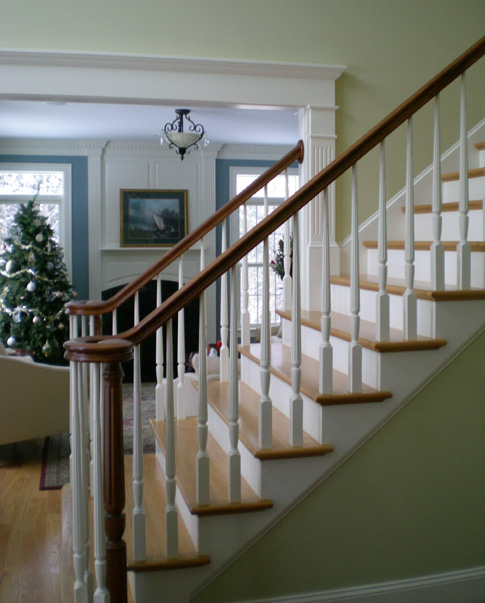 Cherry Volute Cherry Treads Center Entryway Stairs